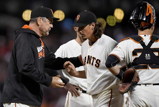 Giants manager Bruce Bochy has made several trips to the mound so far in September. (Getty)