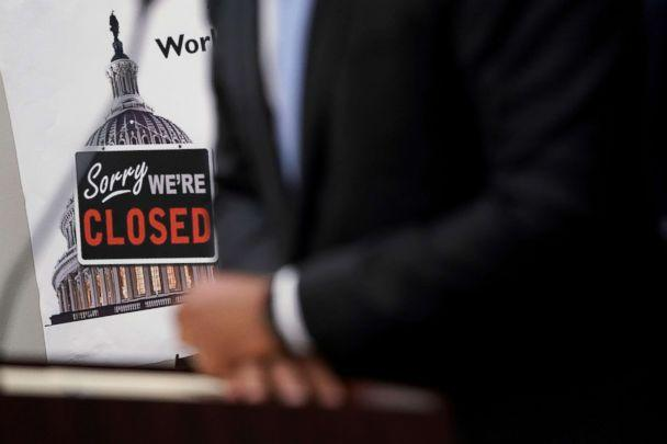 PHOTO: A 'Closed' sign is seen during a news conference after a House Democratic Caucus meeting at the U.S. Capitol, Jan. 9, 2019, in Washington, D.C.  (Alex Wong/Getty Images)