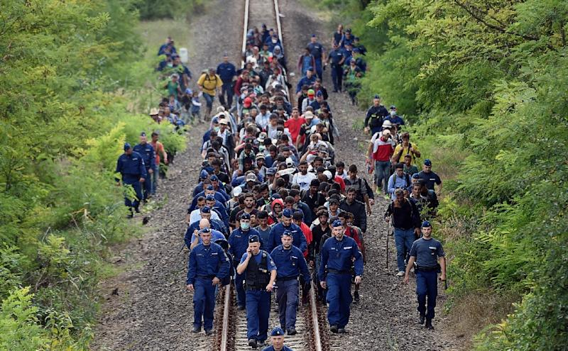 Refugees accompanied by police officers walk on the railway tracks near Szeged town on the Hungarian-Serbian border on September 8, 2015 (AFP Photo/Attila Kisbenedek)
