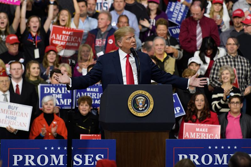 President Donald Trump speaks to supporters in Moon Township, Pennsylvania, on Saturday. (Jeff Swensen via Getty Images)