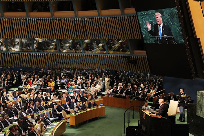 <p>SEPT. 19, 2017 – President Donald Trump speaks to world leaders at the 72nd United Nations (UN) General Assembly at UN headquarters in New York City. This is Trump's first appearance at the General Assembly where he addressed threats from Iran and North Korea among other global concerns. (Photo: Spencer Platt/Getty Images) </p>
