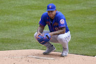New York Mets starting pitcher Taijuan Walker collects himself on the mound after committing a fielding error on a ball hit by Pittsburgh Pirates' Kevin Newman during the first inning of a baseball game in Pittsburgh, Sunday, July 18, 2021. Three runs scored.d (AP Photo/Gene J. Puskar)