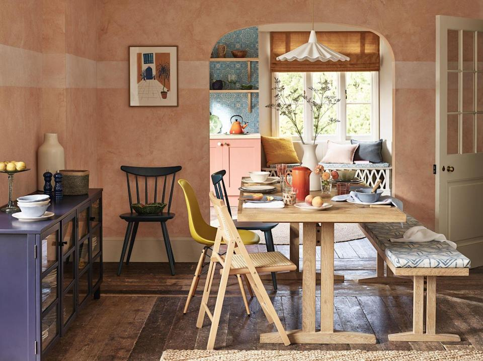 "<p>As part of the store's Modern Mediterranean trend, you'll find colours, fabrics and accessories that complement every interior scheme. We love this dining room table and matching bench, which is perfect for creating a welcoming zone. </p><p><a class=""link rapid-noclick-resp"" href=""https://go.redirectingat.com?id=127X1599956&url=https%3A%2F%2Fwww.johnlewis.com%2Fbrowse%2Fhome-garden%2Fnew-in-home%2F_%2FN-7opk&sref=https%3A%2F%2Fwww.countryliving.com%2Fuk%2Fhomes-interiors%2Finteriors%2Fg35316655%2Fjohn-lewis-homeware-spring-summer%2F"" rel=""nofollow noopener"" target=""_blank"" data-ylk=""slk:SHOP NOW"">SHOP NOW</a></p>"