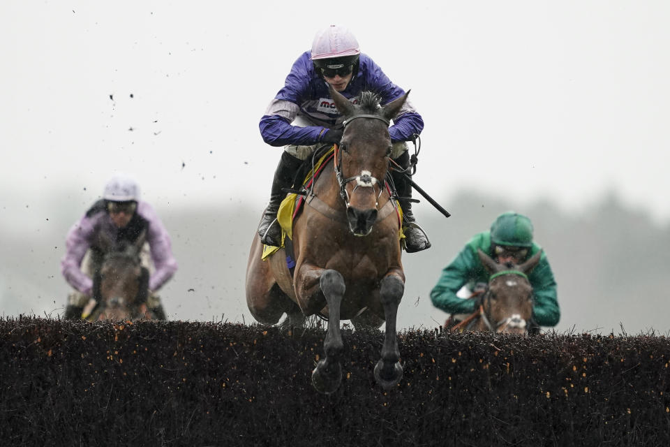 ASCOT, ENGLAND - FEBRUARY 15: Harry Cobden riding Cyrname in action during The Betfair Ascot Chase at Ascot Racecourse on February 15, 2020 in Ascot, England. (Photo by Alan Crowhurst/Getty Images)