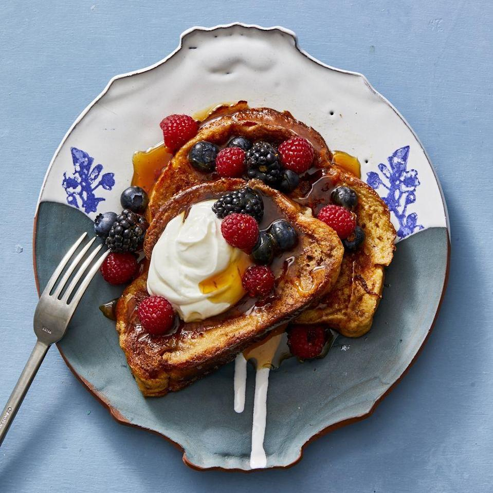 "<p>Custardy on the inside and crisp on the outside, it just doesn't get better than this.</p><p><a href=""https://www.goodhousekeeping.com/food-recipes/a32584903/how-to-make-french-toast-recipe/"" rel=""nofollow noopener"" target=""_blank"" data-ylk=""slk:Get the recipe for French Toast »"" class=""link rapid-noclick-resp""><em>Get the recipe for French Toast »</em> </a></p><p><strong>RELATED: </strong><a href=""https://www.goodhousekeeping.com/food-recipes/g4201/best-brunch-recipes/"" rel=""nofollow noopener"" target=""_blank"" data-ylk=""slk:55 Sweet and Savory Brunch Recipes to Make This Weekend"" class=""link rapid-noclick-resp"">55 Sweet and Savory Brunch Recipes to Make This Weekend</a></p>"