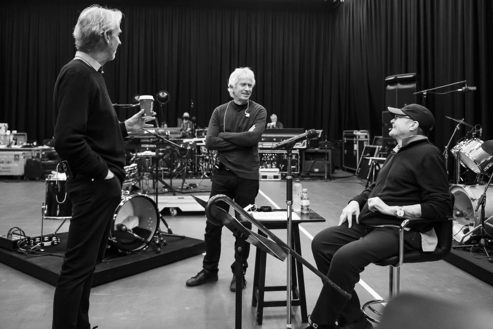 Genesis stars Phil Collins, Mike Rutherford and Tony Banks are back in the studio ahead of a tour next year (Genesis/PA)