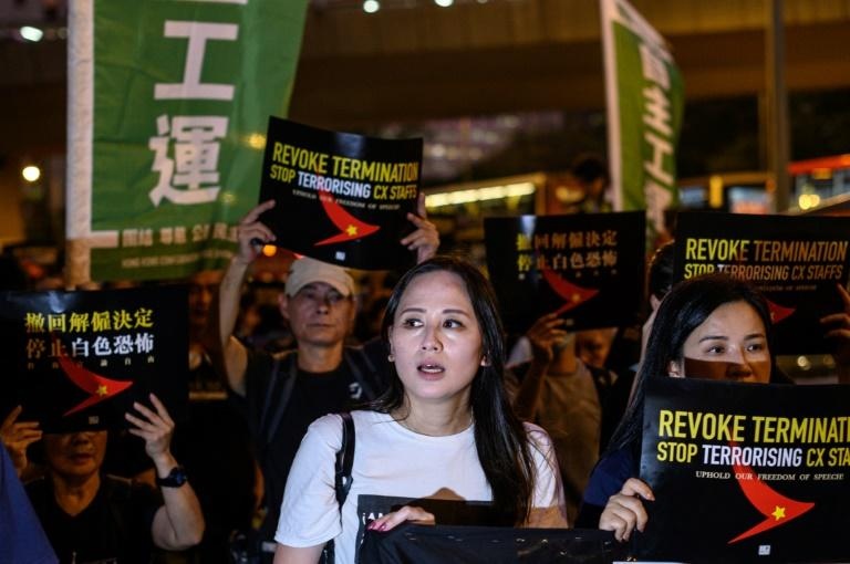 Rebecca Sy, a union organiser and Cathay cabin crew, says she was dropped from a Chinese flight rota and then dismissed a day later without explanation (AFP Photo/Philip FONG)
