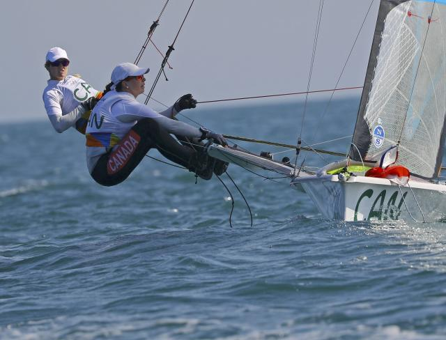 2016 Rio Olympics - Sailing - Preliminary - Women's Skiff - 49er FX - Race 7/8/9 - Marina de Gloria - Rio de Janeiro, Brazil - 15/08/2016. Erin Rafuse (CAN) of Canada and Danielle Boyd (CAN) of Canada compete. REUTERS/Brian Snyder FOR EDITORIAL USE ONLY. NOT FOR SALE FOR MARKETING OR ADVERTISING CAMPAIGNS.