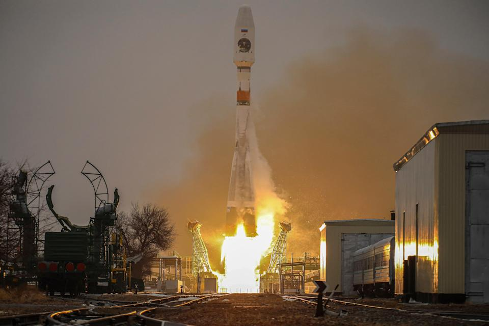 Russian Soyuz-2.1b booster rocket with the Fregat upper stage and the first Arktika-M spacecraft for monitoring climate and environment in the Arctic region, during lift-off (EPA)