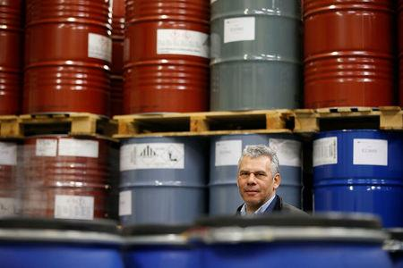 Julian Sarkar, director of Zanos ltd, poses for a picture at his warehouse in Liverpool, Britain February 22, 2018. Picture taken February 22, 2018. REUTERS/Andrew Yates