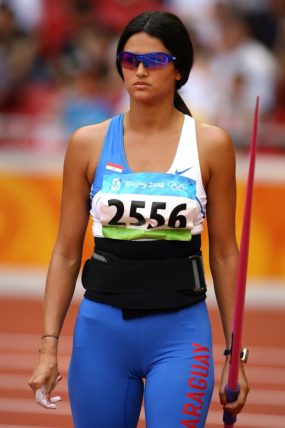 Leryn Franco of Paraguay competes in the Women's Javelin Qualifying Round held at the National Stadium on Day 11 of the Beijing 2008 Olympic Games on August 19, 2008 in Beijing, China.