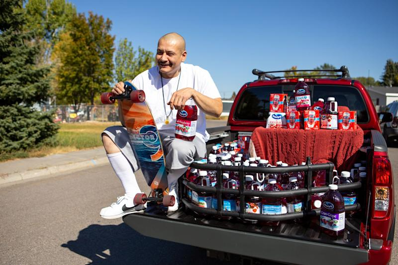 TikTok star Nathan Apodaca, aka 420doggface208, poses after being gifted a truck by Ocean Spray on Oct. 6 in Idaho Falls, Idaho. (Photo: MEGA via Getty Images)