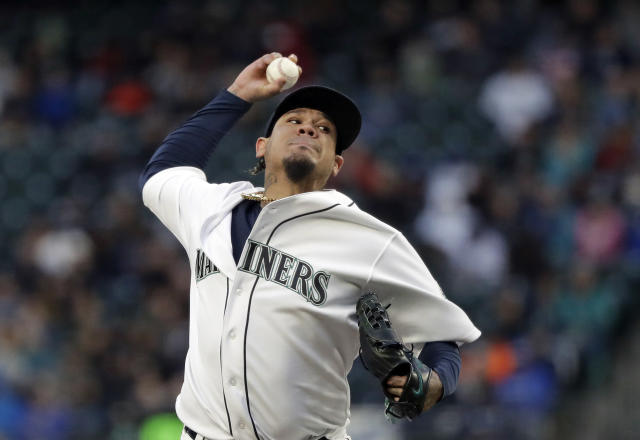 Seattle Mariners starting pitcher Felix Hernandez throws against the Houston Astros in the fifth inning of a baseball game Saturday, April 13, 2019, in Seattle. (AP Photo/Elaine Thompson)