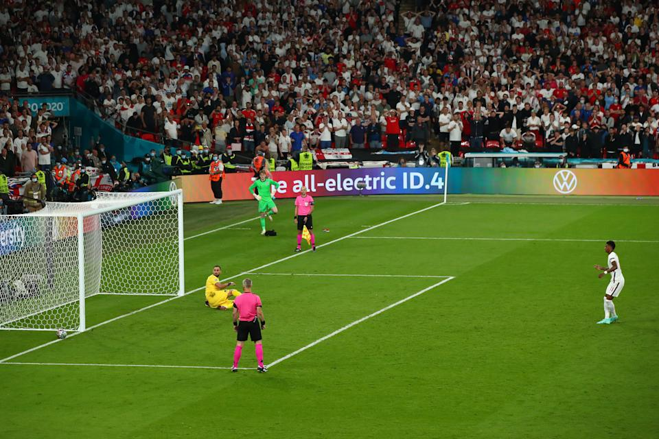 Marcus Rashford (pictured) misses his penalty during the UEFA Euro 2020 Championship Final between Italy and England at Wembley Stadium on July 11, 2021 in London, United Kingdom.