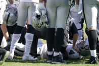 Las Vegas Raiders quarterback Derek Carr (4) is injured on a play during the second half of an NFL football game against the Pittsburgh Steelers in Pittsburgh, Sunday, Sept. 19, 2021. Carr remained in the game. (AP Photo/Keith Srakocic)