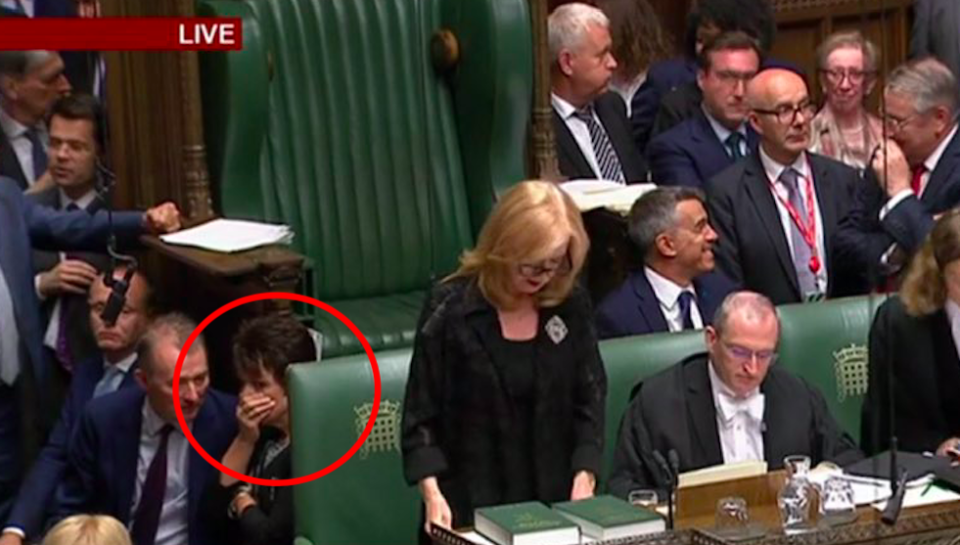 Jo Churchill (circled) reacts after her failure to vote in a key no-deal Brexit vote in the Commons (BBC Parliament)