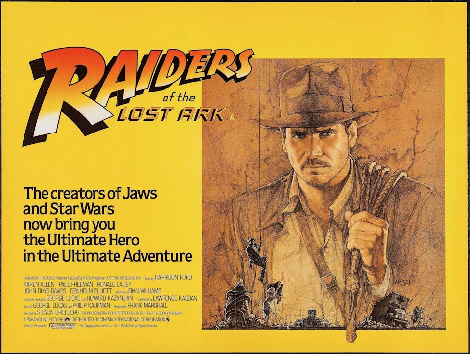 A poster for Raiders of the Lost Ark, with artwork by Richard Amsel (Paramount)