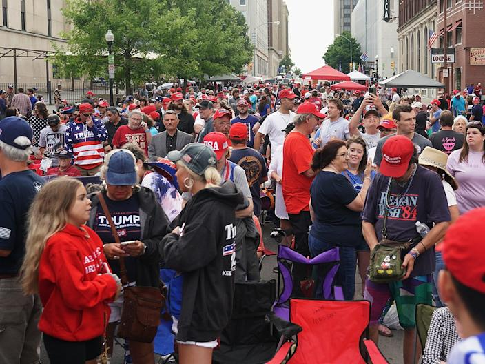 The mostly maskless crowd waiting to get into BOK Center on June 20, 2020.