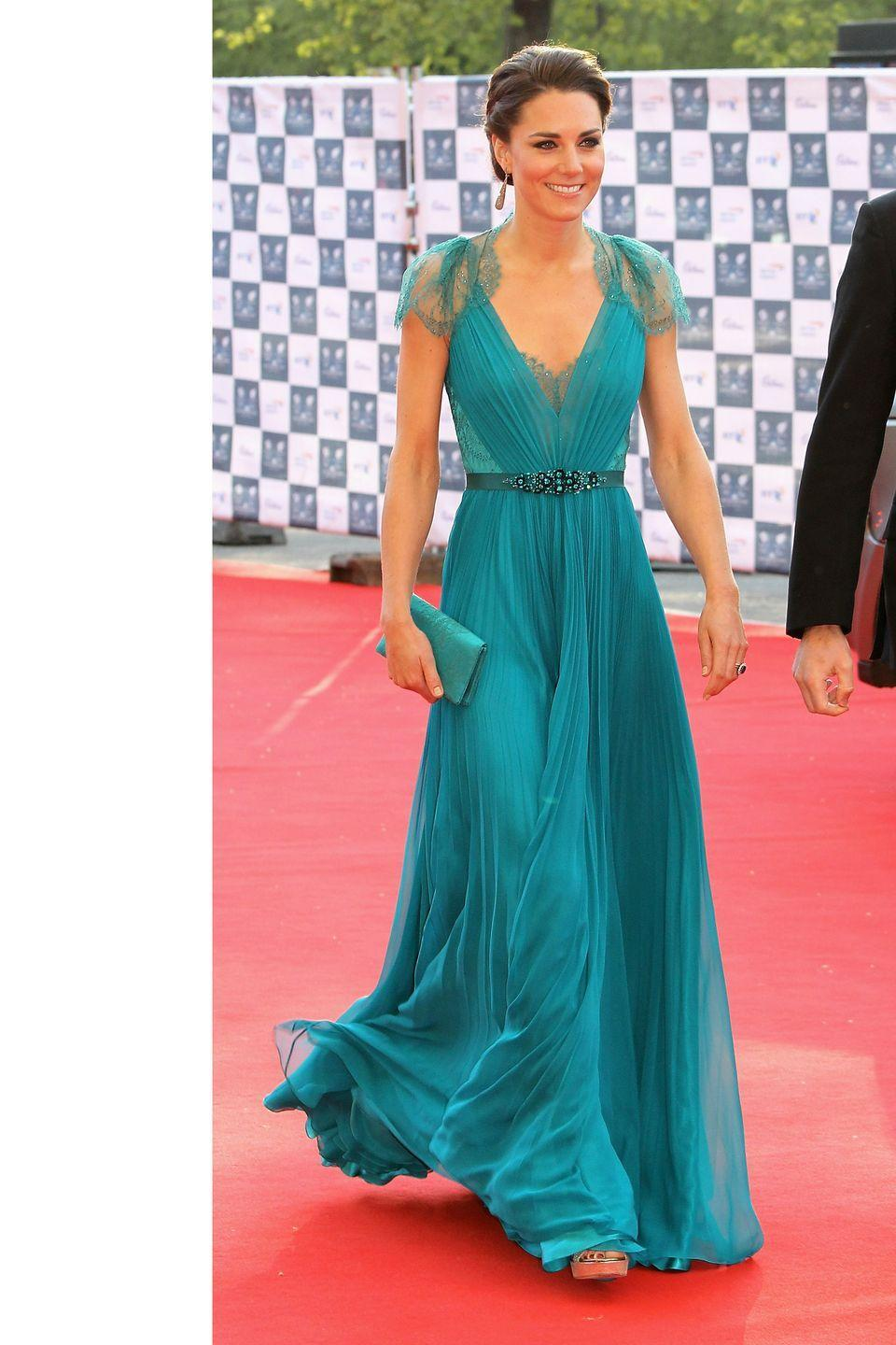 <p>Red carpet-ready in Jenny Packham at the Olympic Gala in London</p>