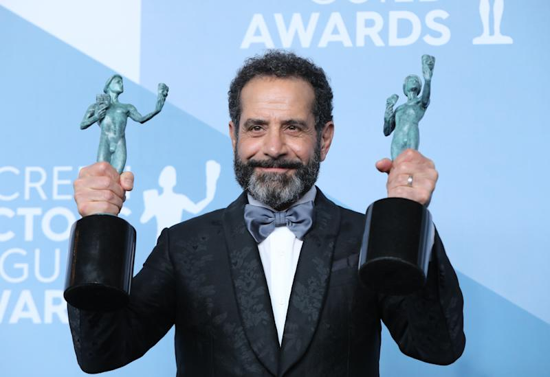 """26th Screen Actors Guild Awards – Photo Room – Los Angeles, California, U.S., January 19, 2020 – Tony Shaloub poses backstage with his awards for Outstanding Performance by an ensemble in a Comedy Series and Outstanding Performance by a Male Actor in a Comedy Series for """"The Marvelous Mrs. Maisel"""" . REUTERS/Monica Almeida"""