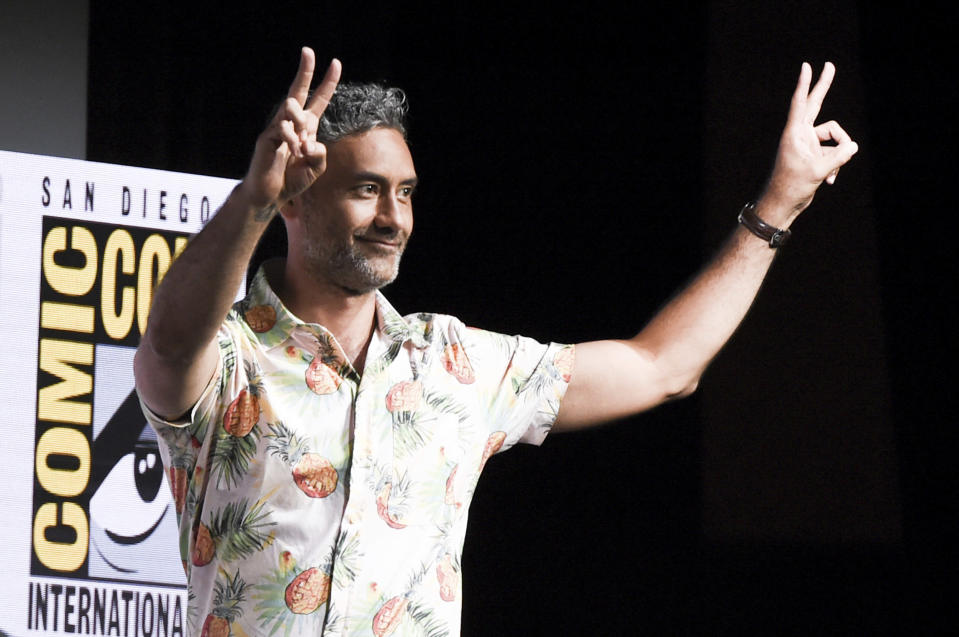 "Taika Waititi attends the ""Marvel"" panel on day 3 of Comic-Con International on Saturday, July 22, 2017, in San Diego. (Photo by Richard Shotwell/Invision/AP)"