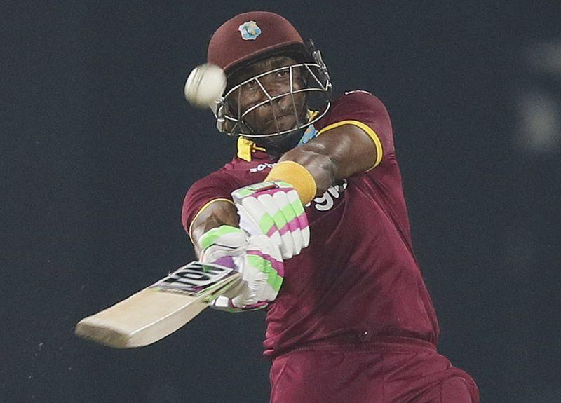 West Indies' Bravo hits a six during their second Twenty 20 International cricket match against Sri Lanka in Colombo