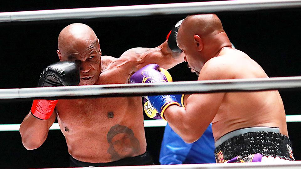 Seen here, Mike Tyson and Roy Jones Jr. fight in a highly publicised exhibition bout.