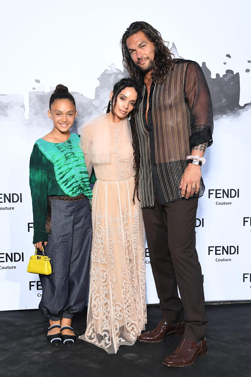 ROME, ITALY - JULY 04: Lola Iolani Momoa, Lilakoi Moon and Jason Momoa attend the Cocktail at Fendi Couture Fall Winter 2019/2020 on July 04, 2019 in Rome, Italy. (Photo by Daniele Venturelli/Daniele Venturelli/ Getty Images for Fendi)
