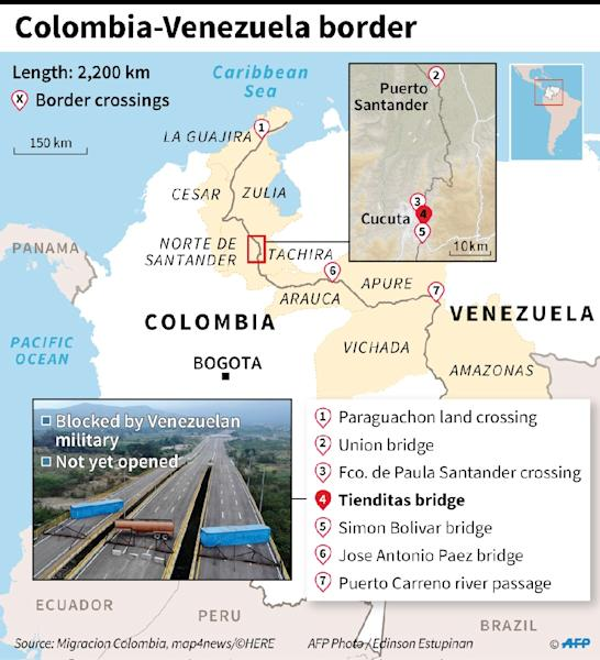 Map showing the border between Colombia and Venezuela, with crossing points (AFP Photo/Nicolas RAMALLO)