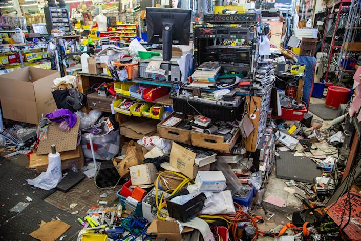 Ax-Man Surplus in St. Paul was broken into a looted during protests in St. Paul Thursday May 28th. Days later owner Jim Segal is still cleaning up the damage and debris that looters left behind.