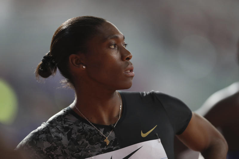 FILE - In a Friday, May 3, 2019 file photo, South Africa's Caster Semenya competes in the women's 800-meter final during the Diamond League in Doha, Qatar. On the 10th anniversary of Semenya blowing away the field in the 800 at the 2009 World Championships in Berlin, she won't comply with the International Association of Athletics Federations' latest version of a regulation to lower her level of natural testosterone.(AP Photo/Kamran Jebreili, File)