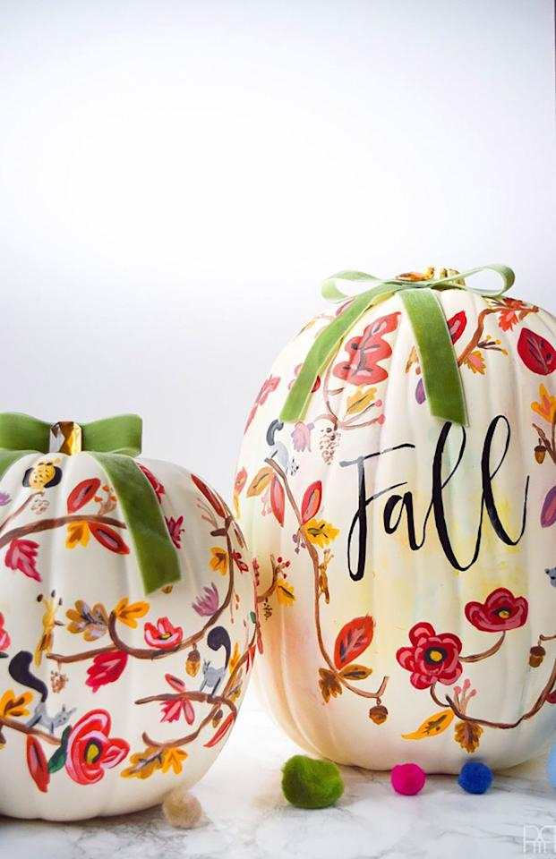 "<p>Not all designs have to be spooky. Design a lovely fall pattern that matches the rest of your home for truly chic decor. </p><p><strong>Get the tutorial at <a rel=""nofollow"" href=""http://www.pmqfortwo.com/2016/09/painted-pumpkins/"">PMQ for Two</a>.</strong> </p>"