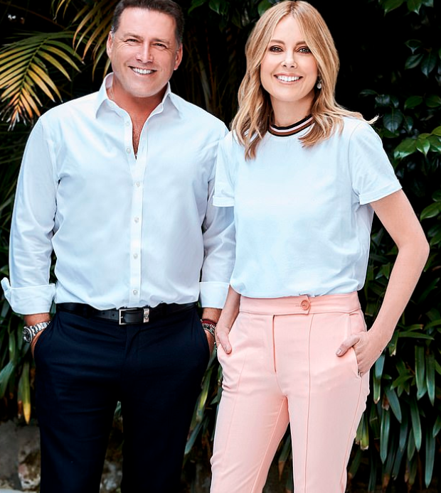 Full shot of Today show hosts Karl Stefanovic and Ally Langdon in promo shot missing arm and chopping Karl's head