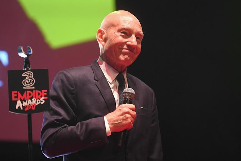 Award winner: Sir Patrick Stewart accepting his gong (Getty Images)