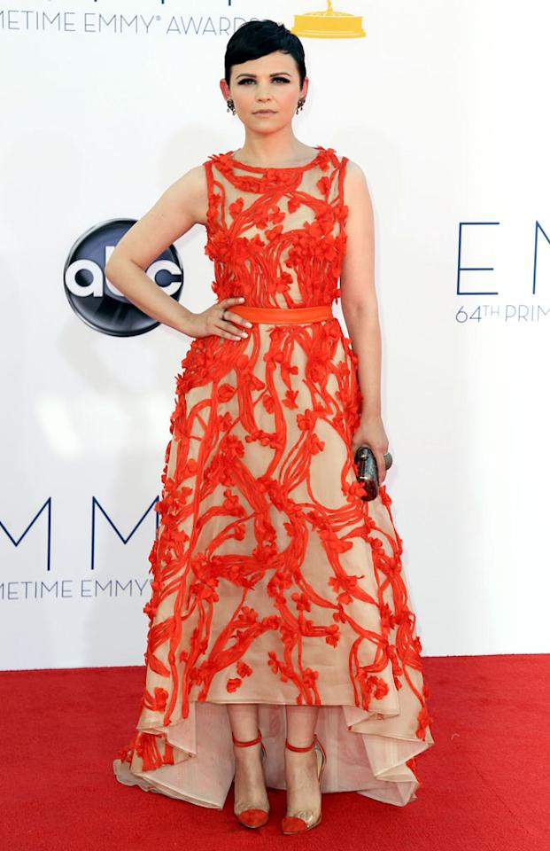 Ginnifer Goodwin arrives at the 64th Primetime Emmy Awards at the Nokia Theatre in Los Angeles on September 23, 2012.