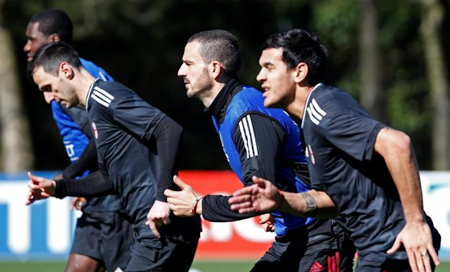 Soccer Football - Europa League - AC Milan Training - Milanello Sport Center, Milan, Italy - March 14, 2018 AC Milan's Leonardo Bonucci during training REUTERS/Stefano Rellandini