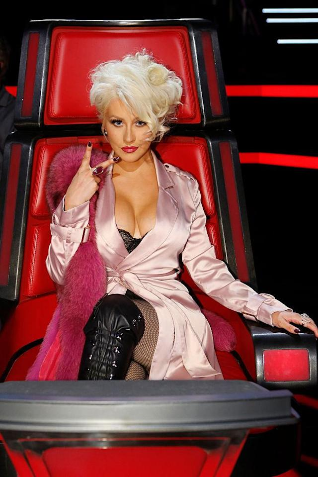 Aguilera wore some more eye-catching looks on <em>The Voice</em>. (Photo: Getty Images)