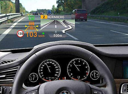 The BMW heads-up display gives driving statistics on the windshield. (Image via Mike Wehner)