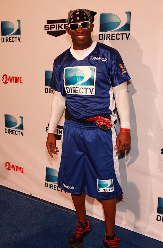 NFL Hall of Famer Deion Sanders arrives at the DirecTV Celebrity Beach Bowl in Indianapolis.
