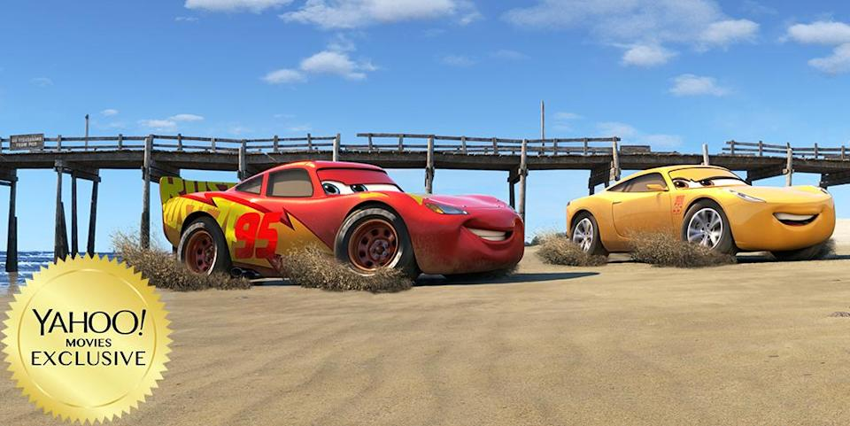 """<p><a rel=""""nofollow"""" href=""""https://www.yahoo.com/movies/tagged/pixar"""" data-ylk=""""slk:Pixar"""" class=""""link rapid-noclick-resp"""">Pixar</a>'s series about anthropomorphic automobiles <a rel=""""nofollow"""" href=""""https://www.yahoo.com/movies/cars-3-poster-lightning-mcqueen-enters-the-upside-down-exclusive-170126041.html"""" data-ylk=""""slk:took a dark turn last year with a first teaser;outcm:mb_qualified_link;_E:mb_qualified_link;ct:story;"""" class=""""link rapid-noclick-resp yahoo-link"""">took a dark turn last year with a first teaser</a> that showed Lightning McQueen (<a rel=""""nofollow"""" href=""""https://www.yahoo.com/movies/tagged/owen-wilson"""" data-ylk=""""slk:Owen Wilson"""" class=""""link rapid-noclick-resp"""">Owen Wilson</a>) suffering a terrifying crash. Later clips looked less dire as the comeback story shows an aging Lightning matching wits and wheels against a new generation. 