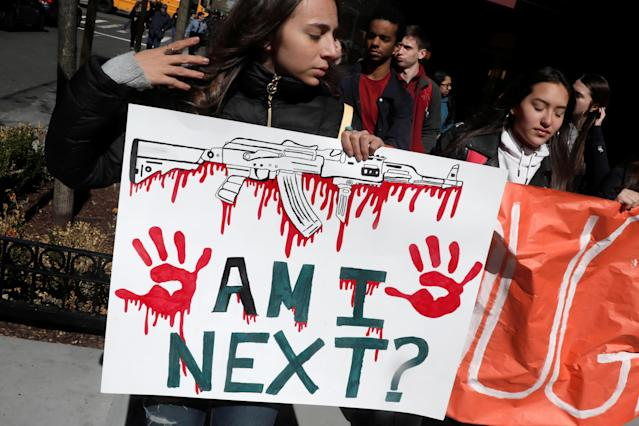 <p>Students from Fiorello H. Laguardia High School march out of their school in support of a National School Walkout in Manhattan, New York City, April 20, 2018. (Photo: Mike Segar/Reuters) </p>