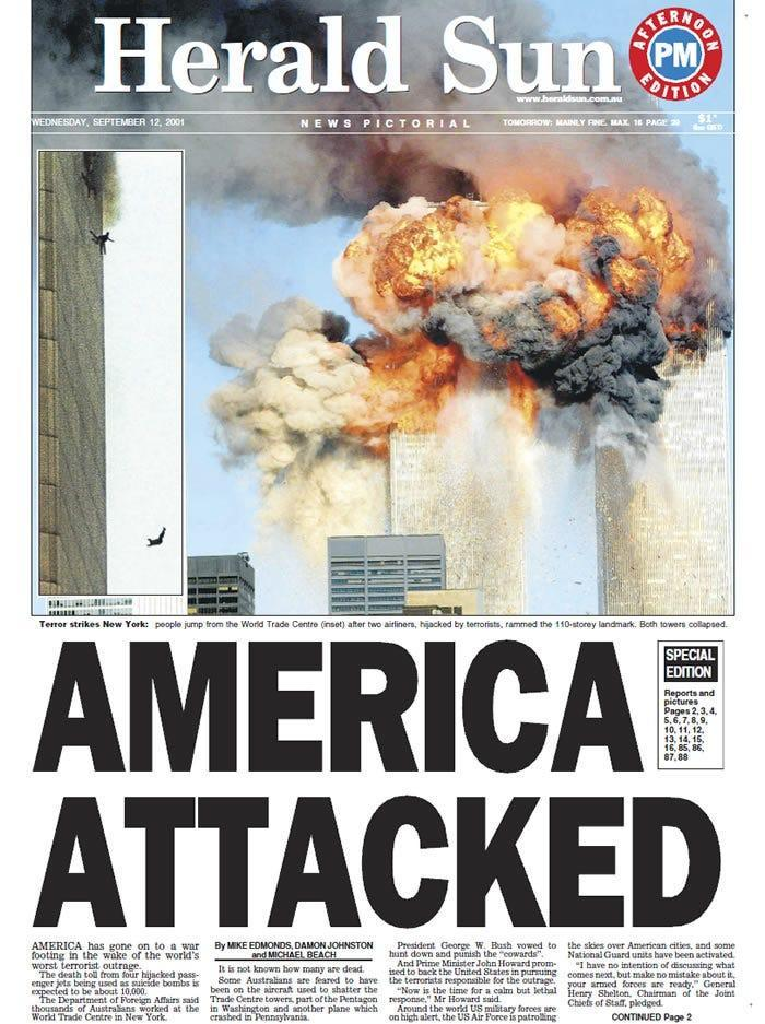 The front page of Melbourne, Australia newspaper the Herald Sun on 12 September, 2001 (Herald Sun)