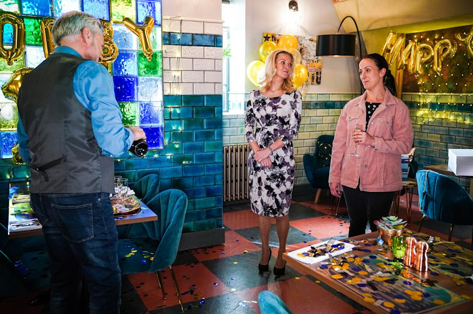 WARNING: Embargoed for publication until 00:00:01 on 13/07/2021 - Programme Name: EastEnders - July-September 2021 - TX: 22/07/2021 - Episode: EastEnders - July-September 2021 - 6311 (No. n/a) - Picture Shows: ***EMBARGOED TILL TUESDAY 13TH JULY 2021*** Rocky (BRIAN CONLEY), Kathy Beale (GILLIAN TAYLFORTH), Sonia Fowler (NATALIE CASSIDY) - (C) BBC - Photographer: Kieron McCarron/Jack Barnes