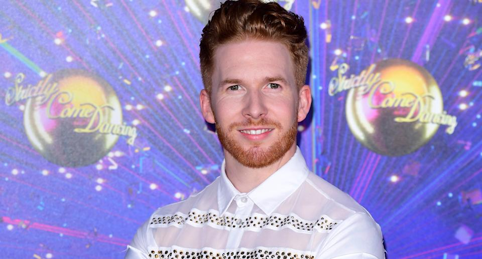 Neil Jones arriving at the red carpet launch of Strictly Come Dancing 2019, held at BBC TV Centre in London, UK. (Photo by Ian West/PA Images via Getty Images)
