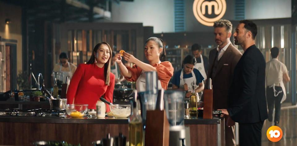 'MasterChef Australia' judges Melissa Leong, Jock Zonfrillo and Andy Allen appear in the show's new promo as some of the 2021 cast is revealed. (Photo: Channel 10)