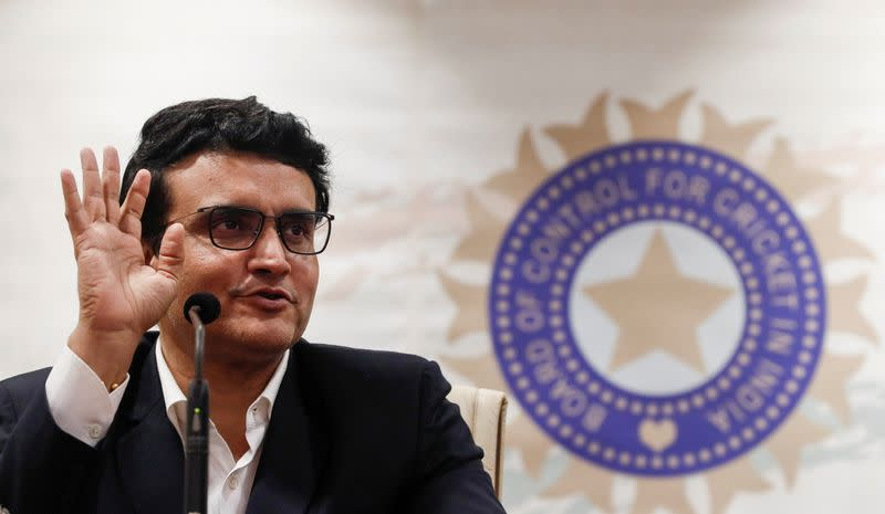 FILE PHOTO: Former Indian cricketer and current BCCI, president Sourav Ganguly reacts during a press conference at the BCCI headquarters in Mumbai