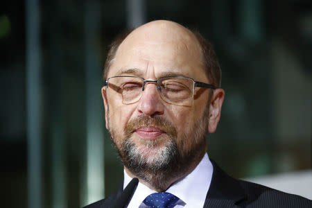 Social Democratic Party (SPD) leader Schulz makes a statement at the party headquarters in Berlin
