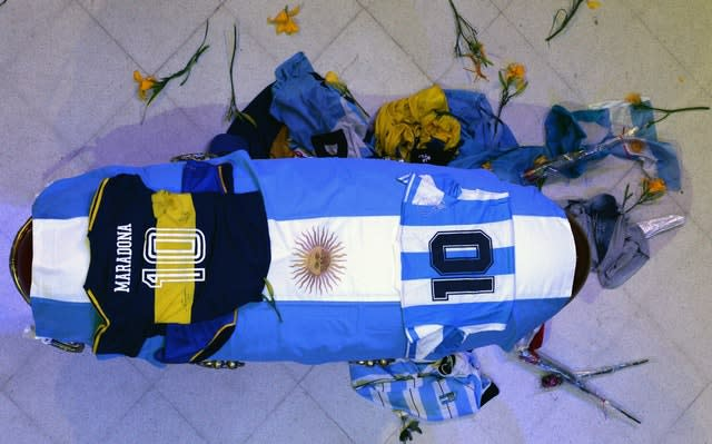 The coffin with the remains of Diego Maradona in state inside the presidential palace in Buenos Aires, Argentina