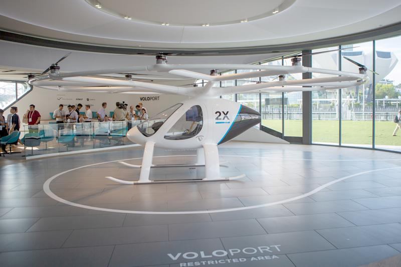 A prototype Volocopter two-seater electric air taxi on display at the Voloport press conference at The Float @ Marina Bay on 21 October 2019. (PHOTO: Dhany Osman / Yahoo News Singapore)