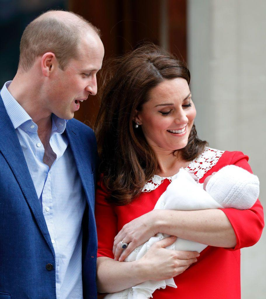 "<p>Déjà vu in red! Kate's cheerful red dress with white details was reminiscent of Diana's dress when introducing baby Prince Harry. <a href=""http://time.com/5193980/kate-middleton-first-post-partum-dress-after-giving-birth/"" rel=""nofollow noopener"" target=""_blank"" data-ylk=""slk:Time"" class=""link rapid-noclick-resp"">Time</a> said Twitter users also commented that the colors may be in honor of England's patron saint, St. George, whose holiday happens to fall on the same day as the prince's birth. </p>"